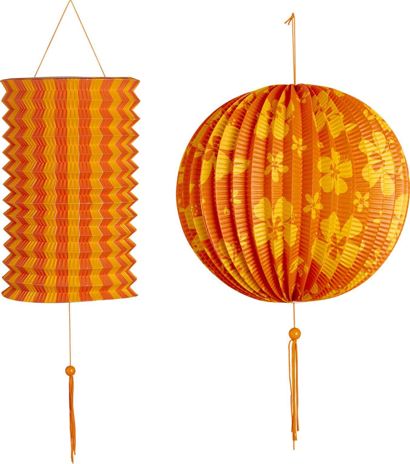 Oranje gele papieren bal met lampion
