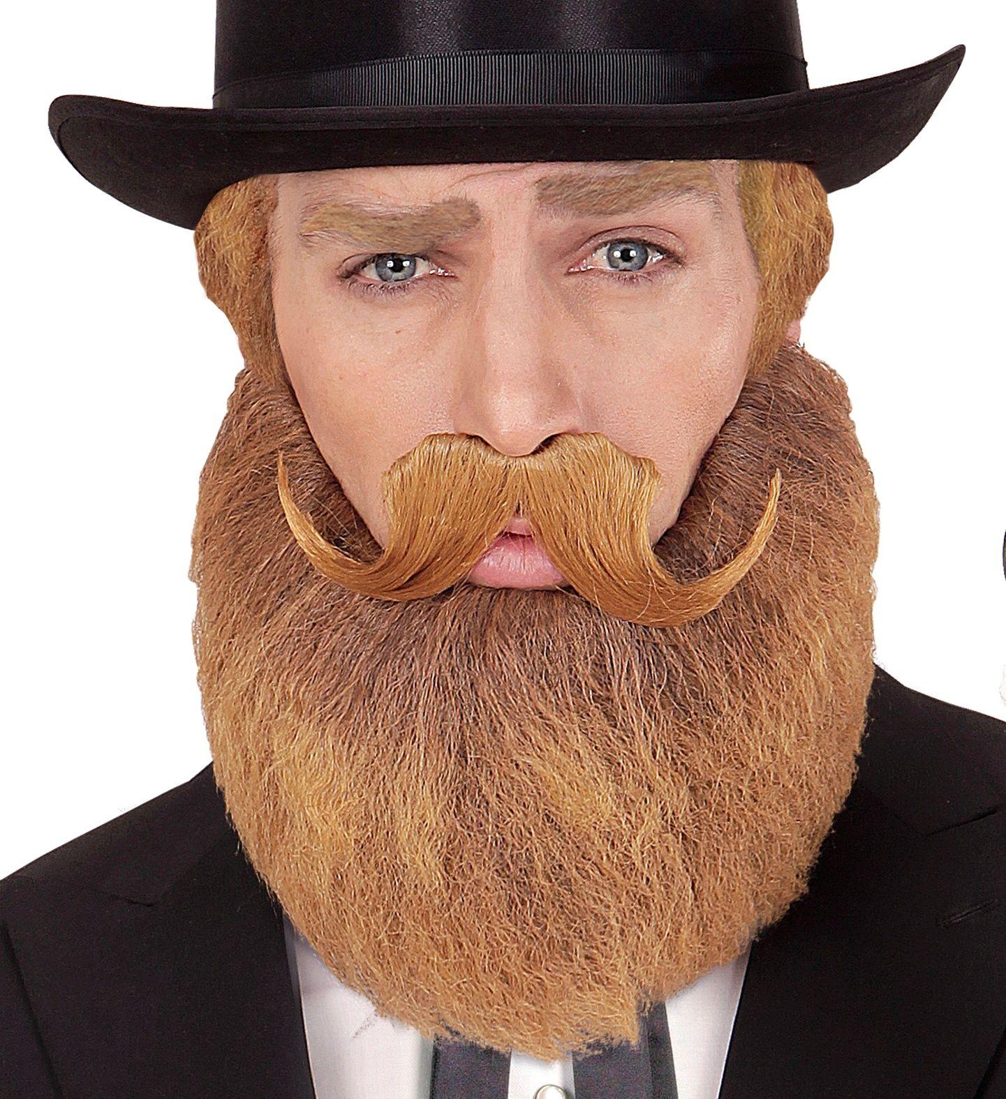 Oranje historische baard en snor