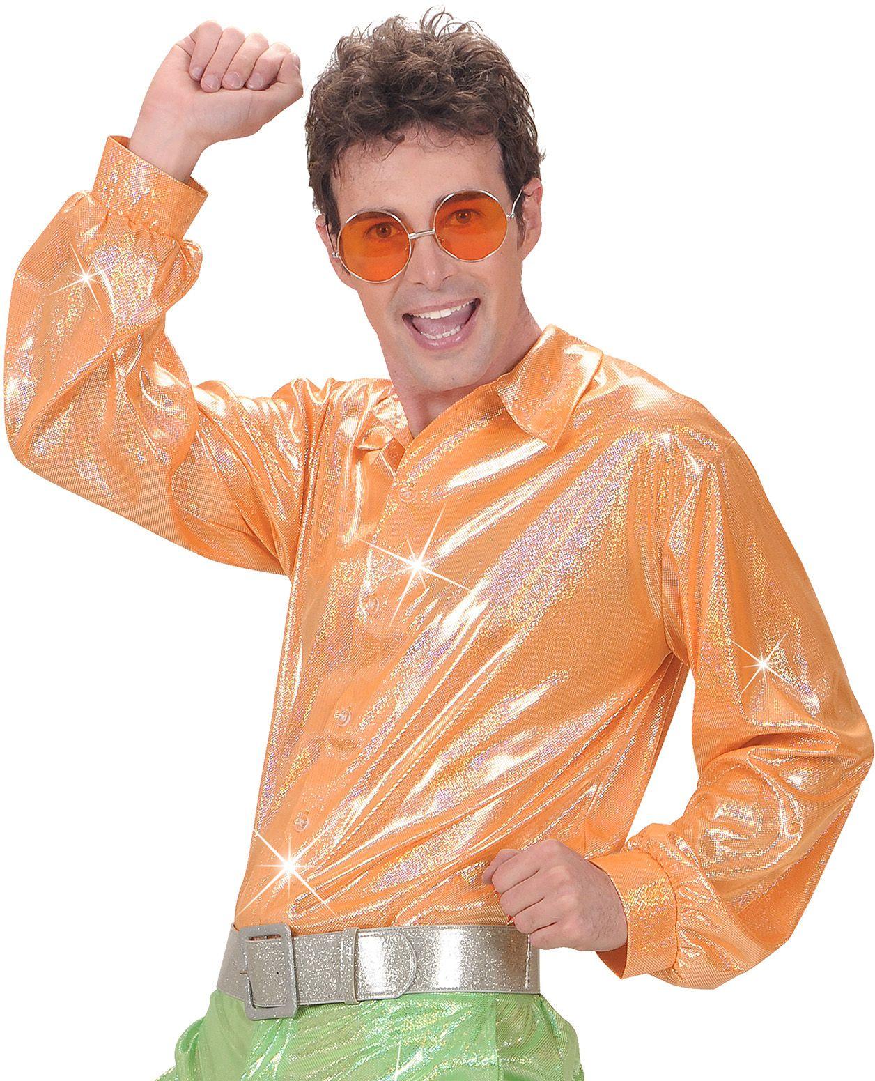 Oranje holografische disco blouse