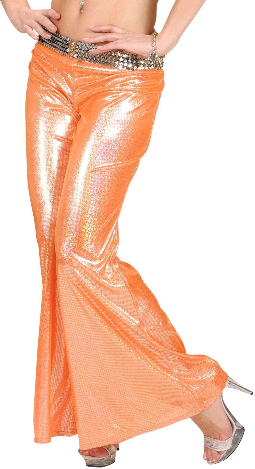 Oranje holografische disco broek