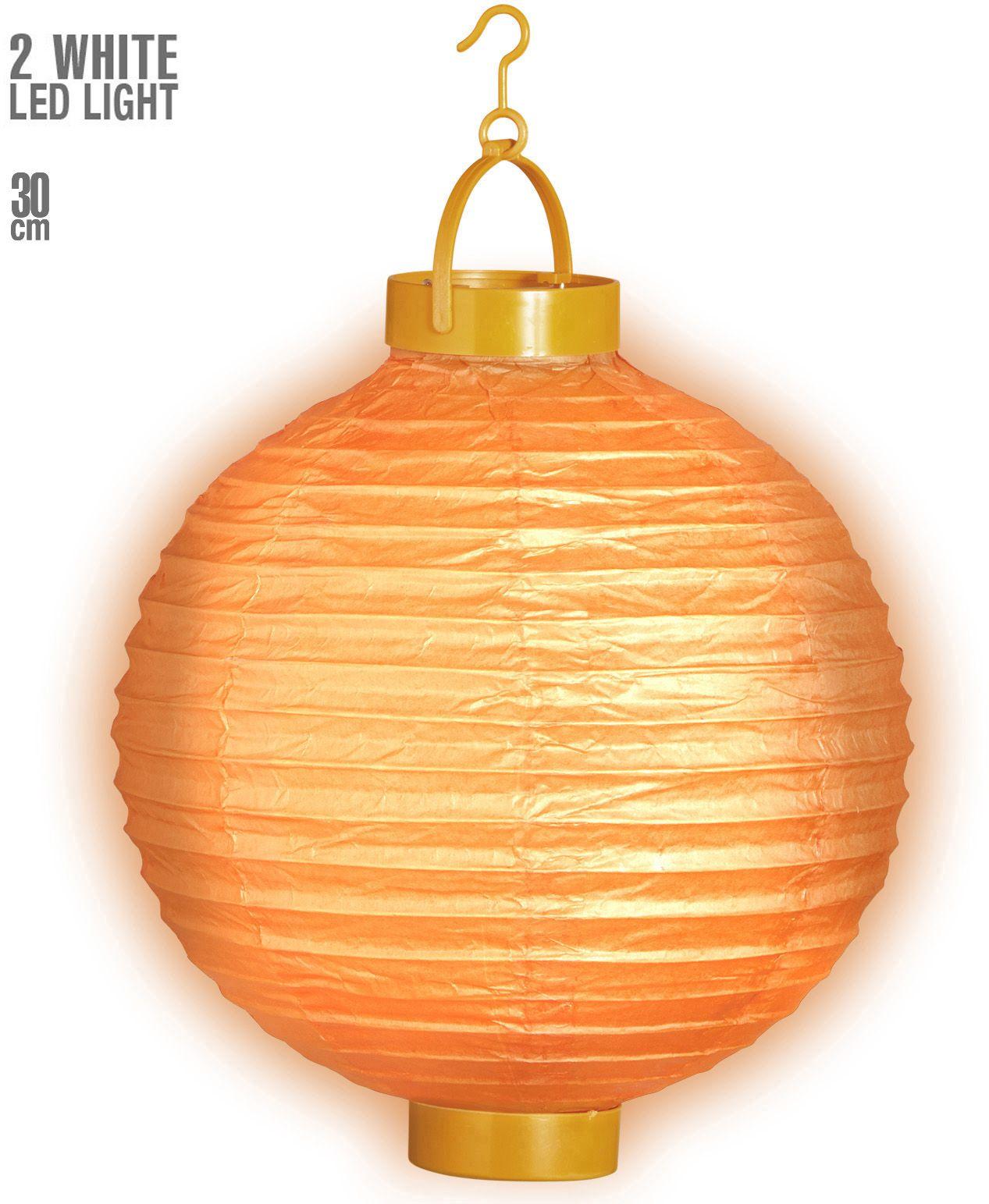 Oranje lampion met 2 witte LED lichten