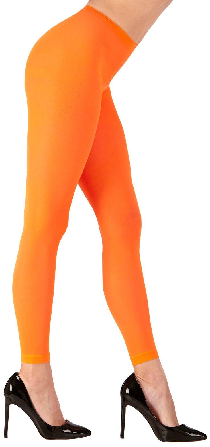 Oranje neon legging One-size-volwassenen