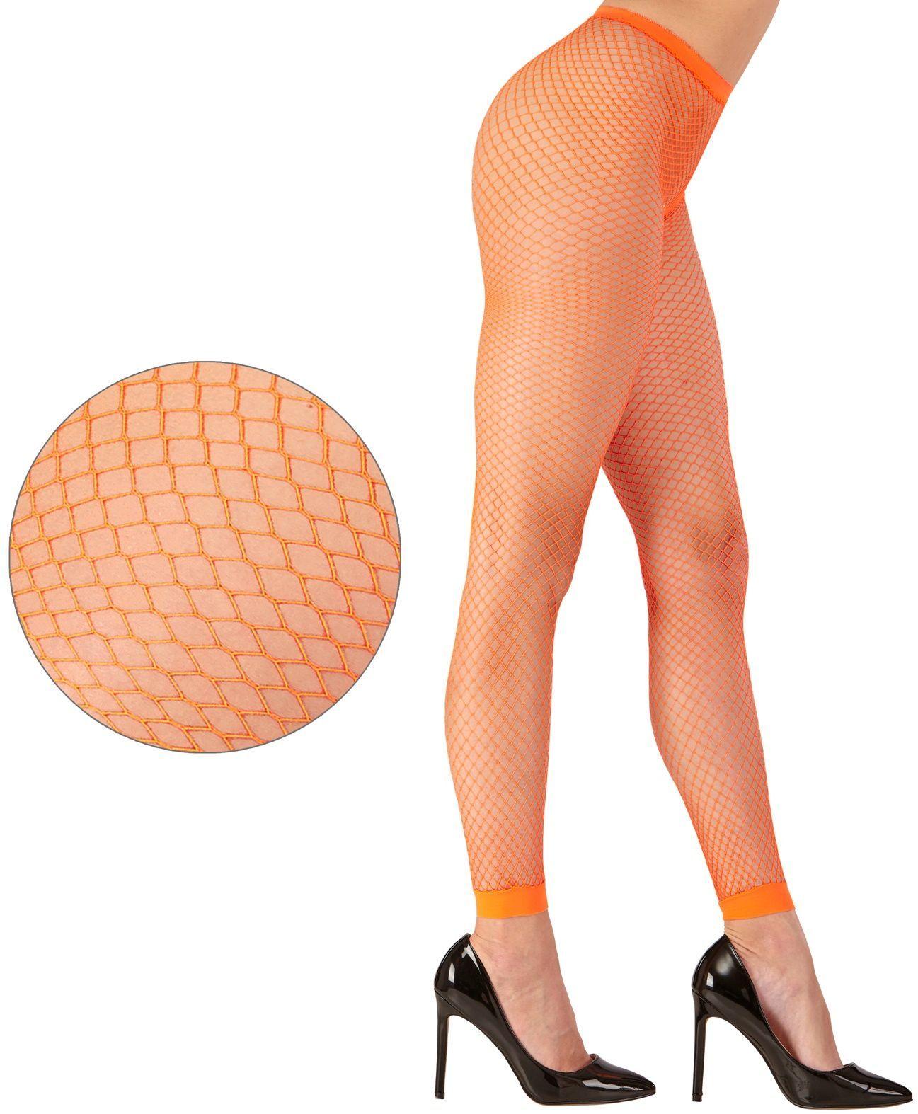 Oranje neon visnet legging One-size-volwassenen