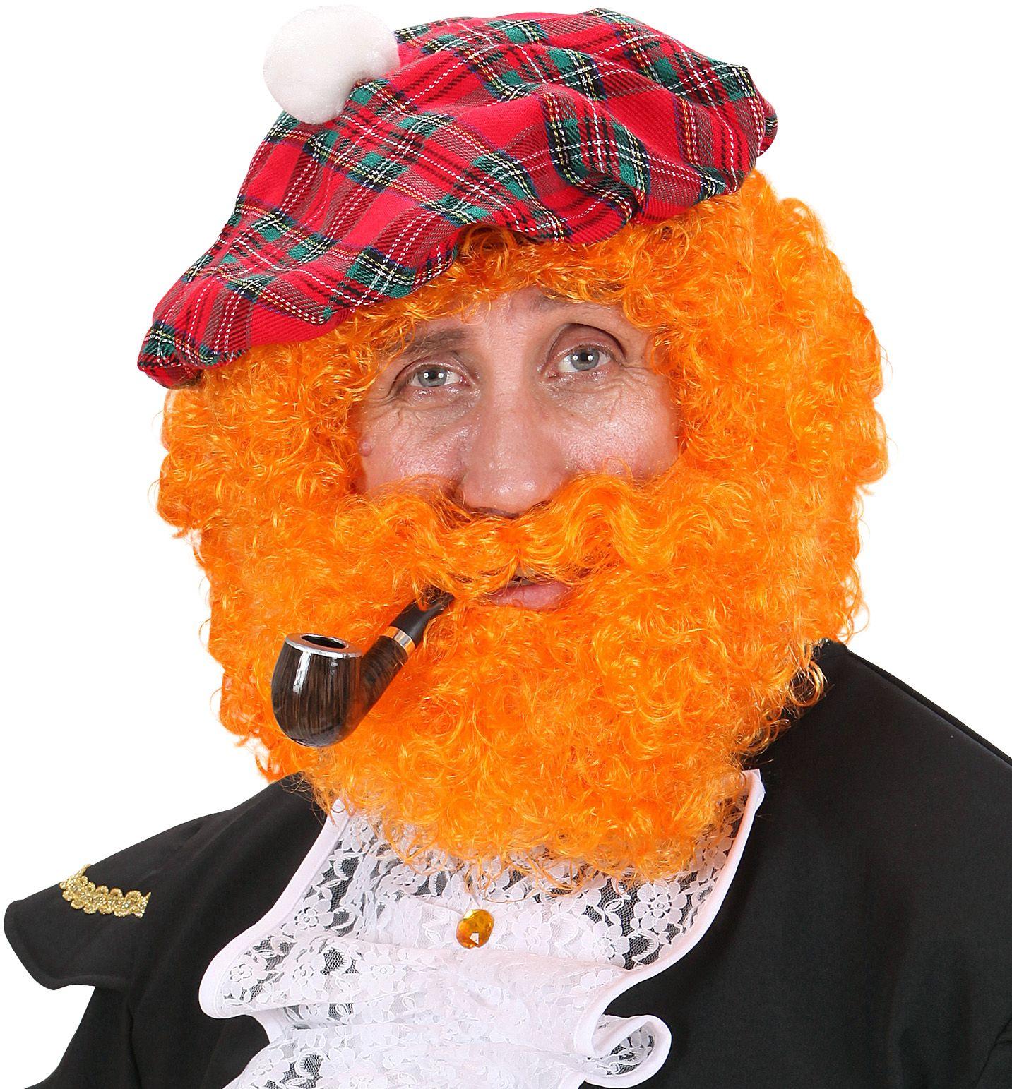 Oranje pruik met snor en baard