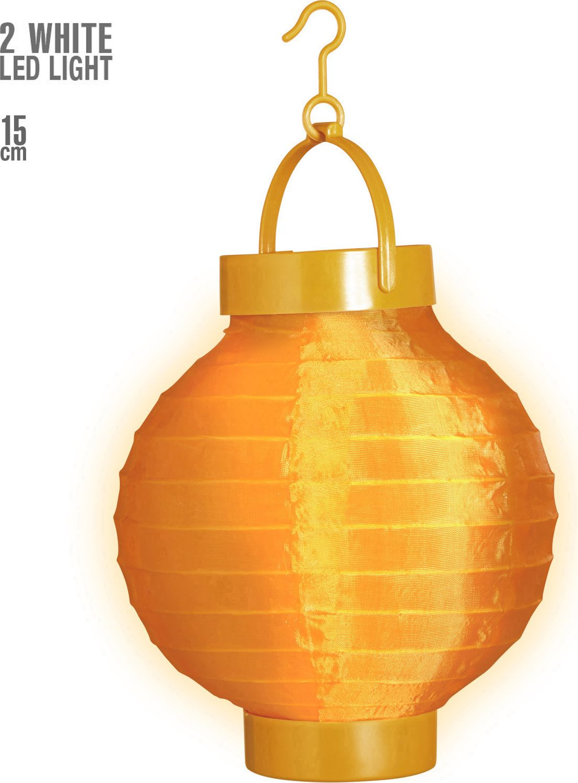 Oranje stoffen lampion met 2 witte LED lichten