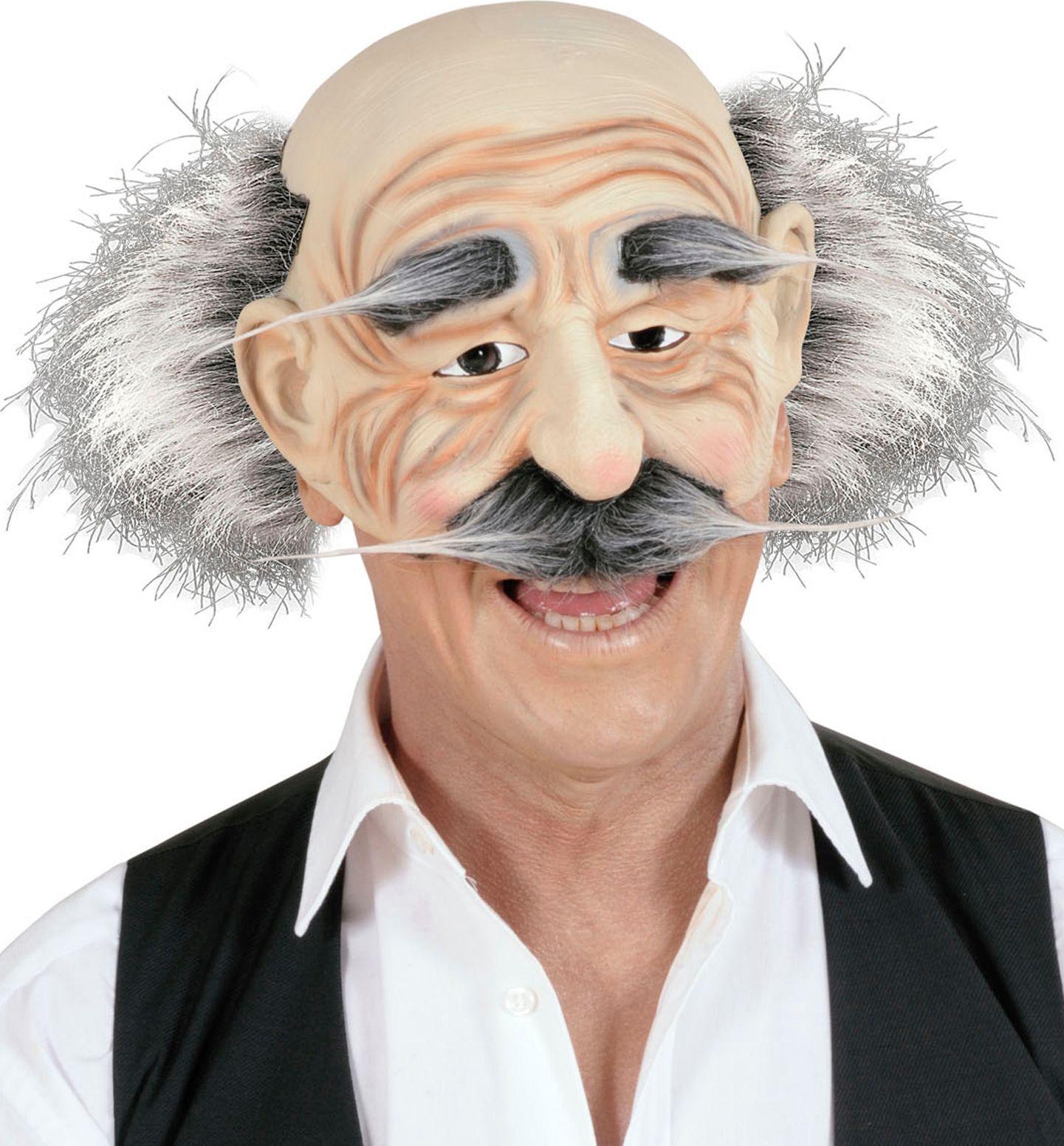 Oude opa masker met haar, snor en wenkbrauwen