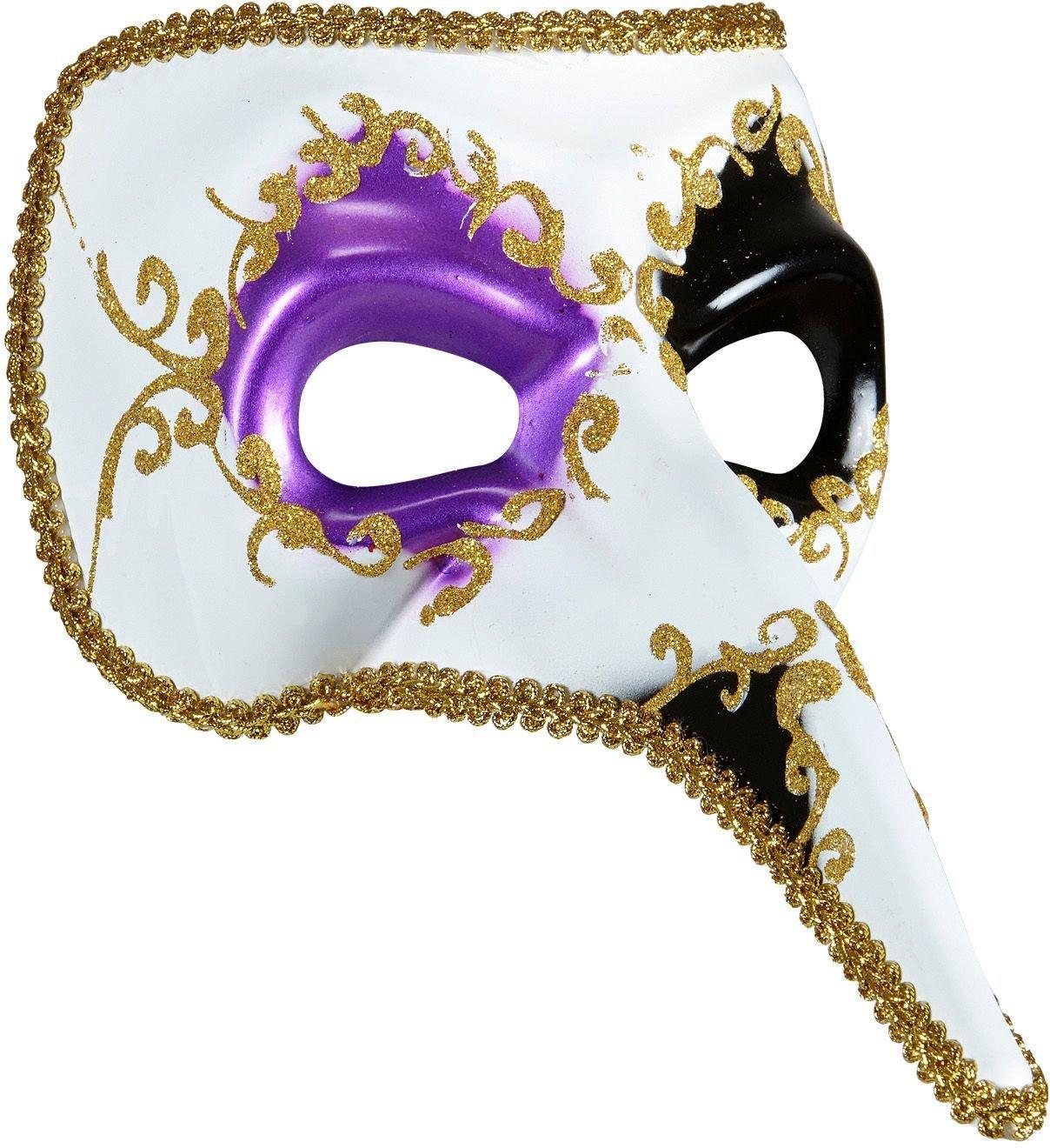 Paars-zwart venetiaans nasone masker