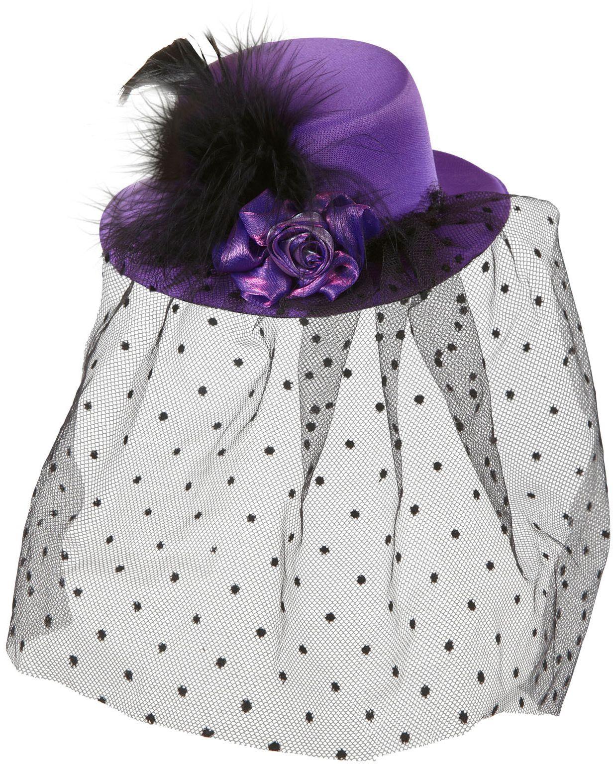 Paarse 20s mini hoge hoed met sluier