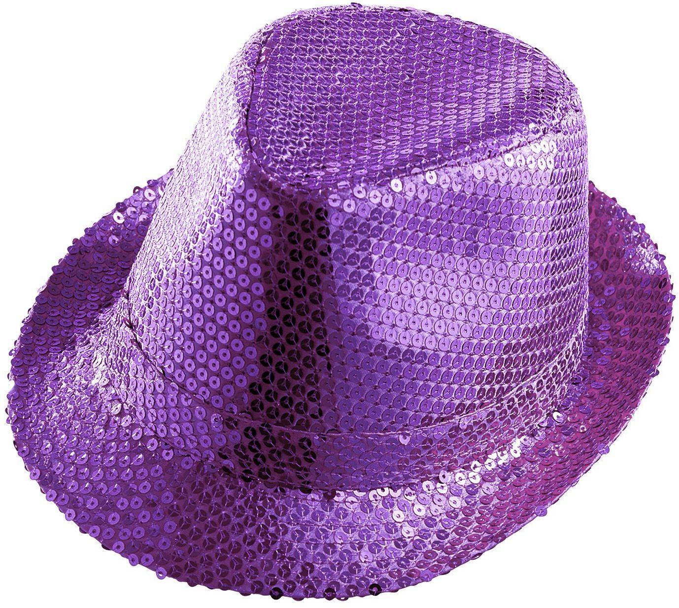 Paarse pailletten hoed