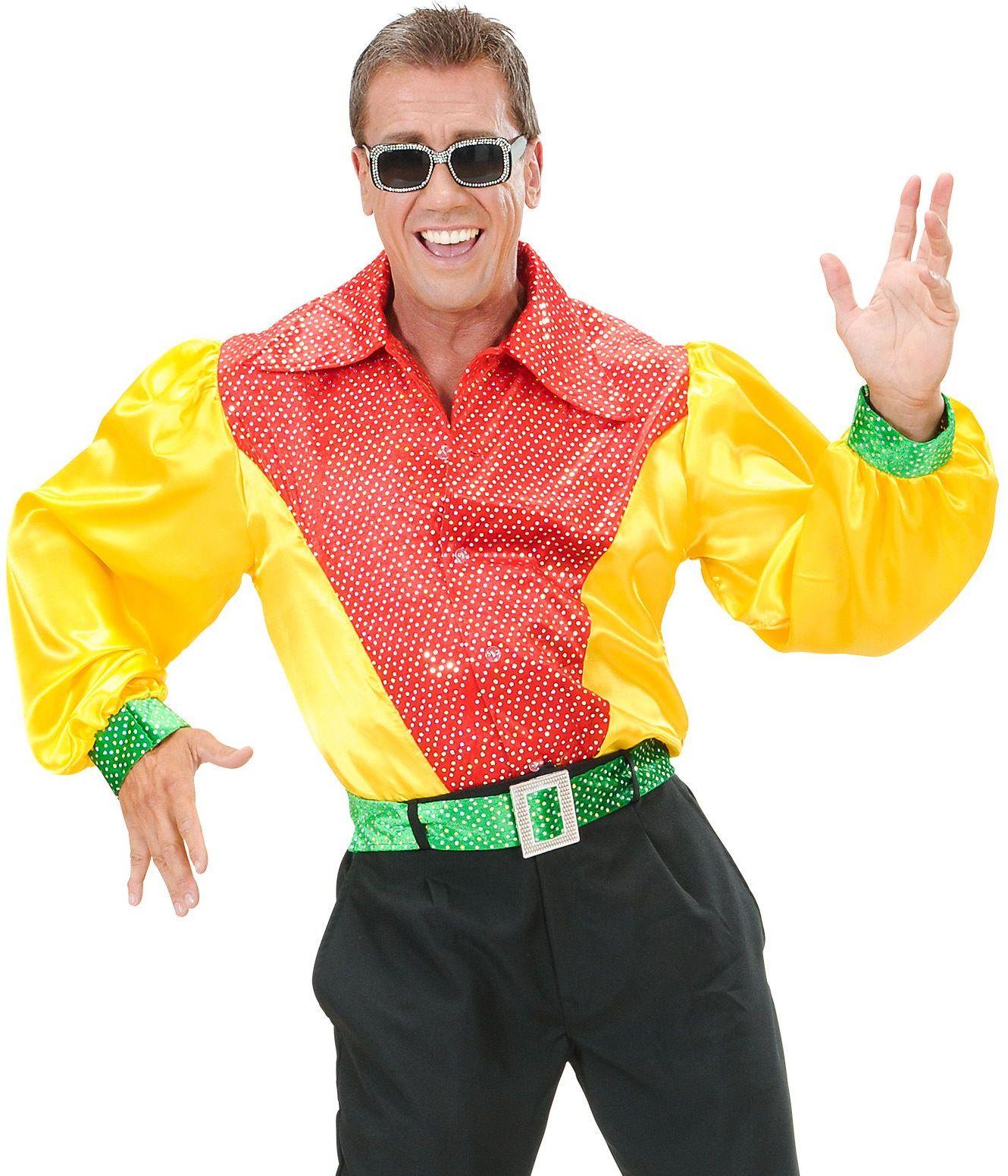 Pailletten blouse rood/geel/groen