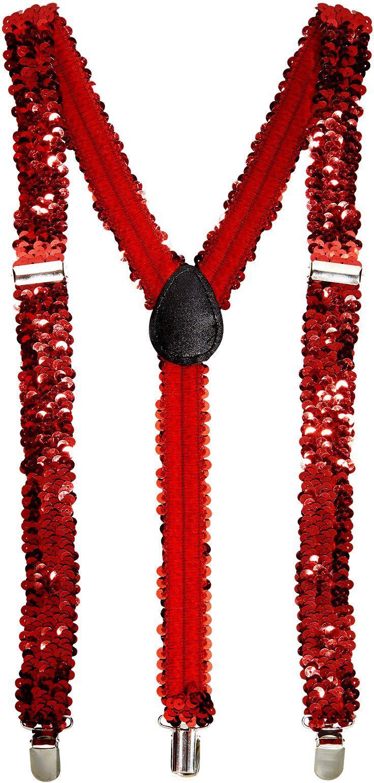 Pailletten bretels rood