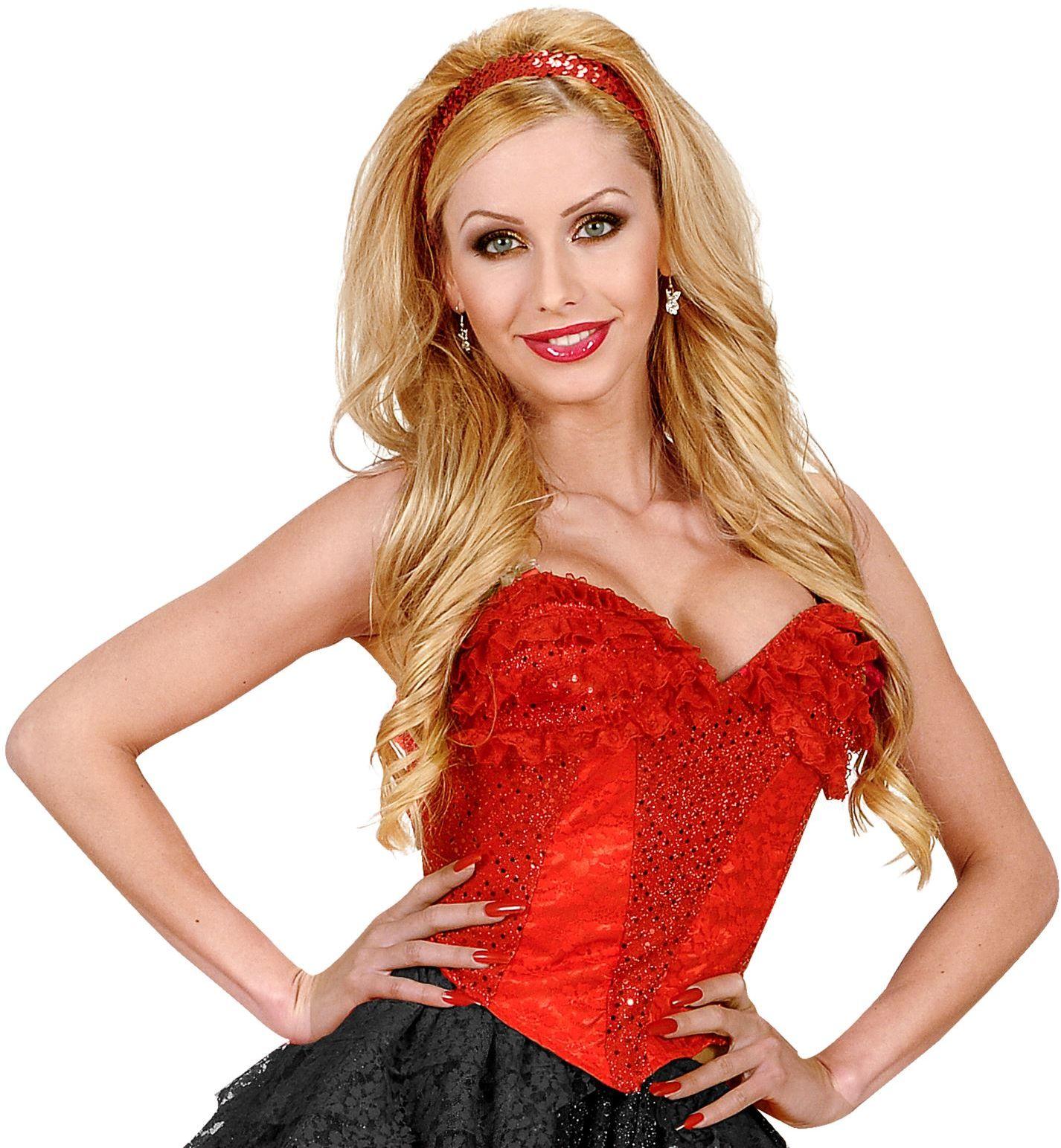 Pailletten corset rood