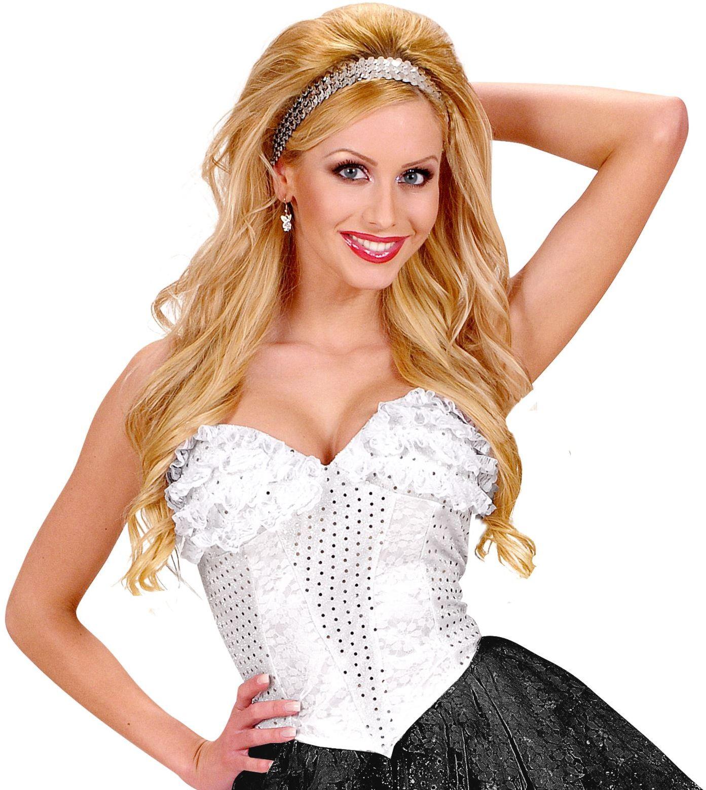 Pailletten corset wit