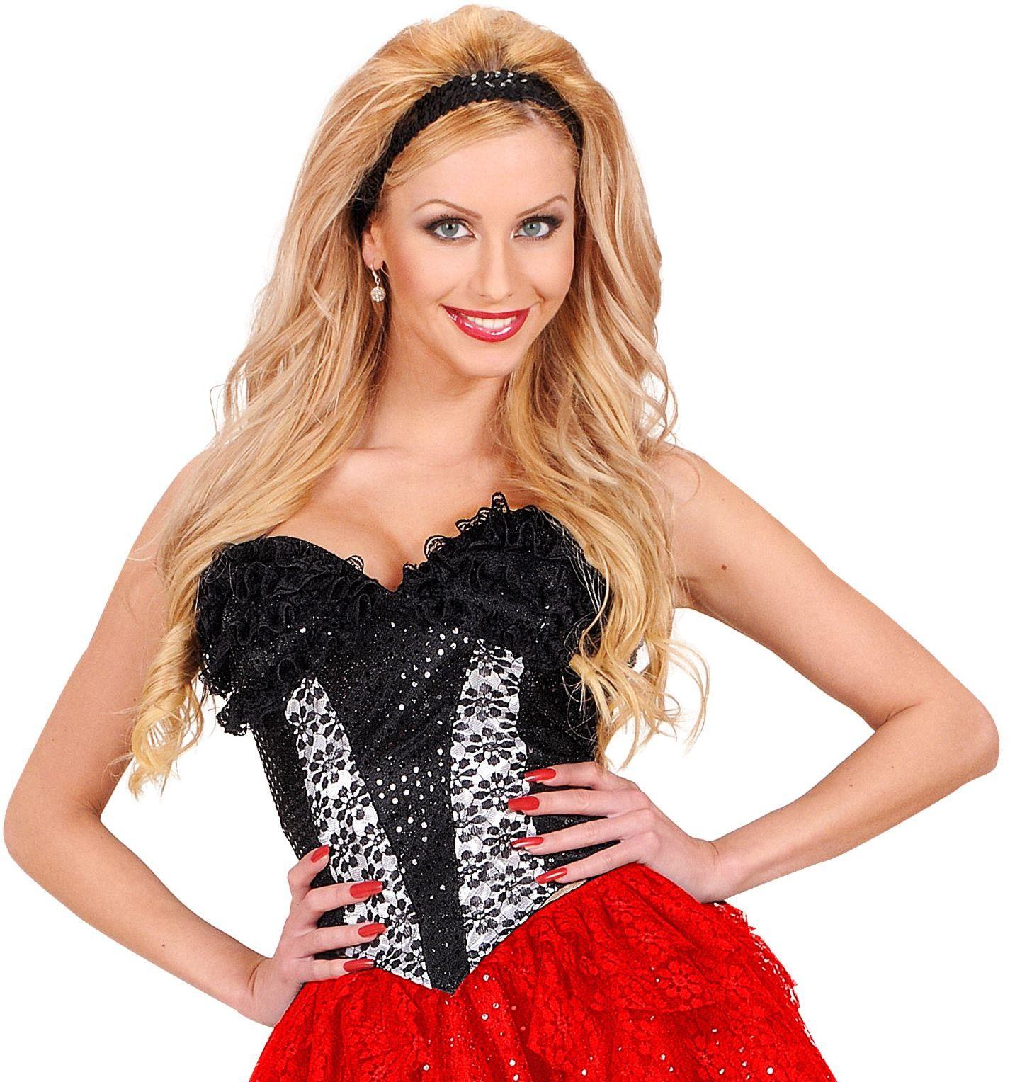 Pailletten corset zwart