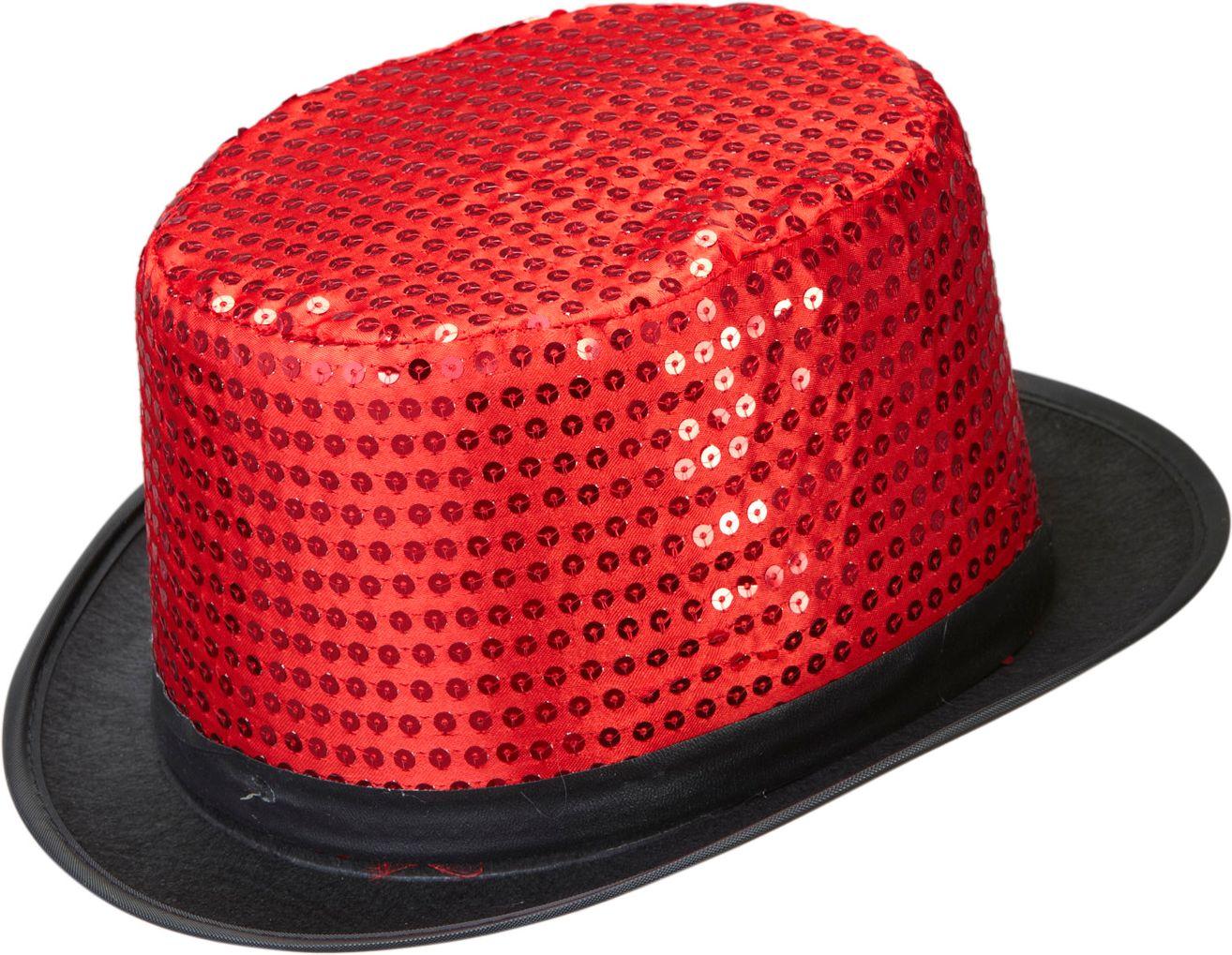 Pailletten hoge hoed rood