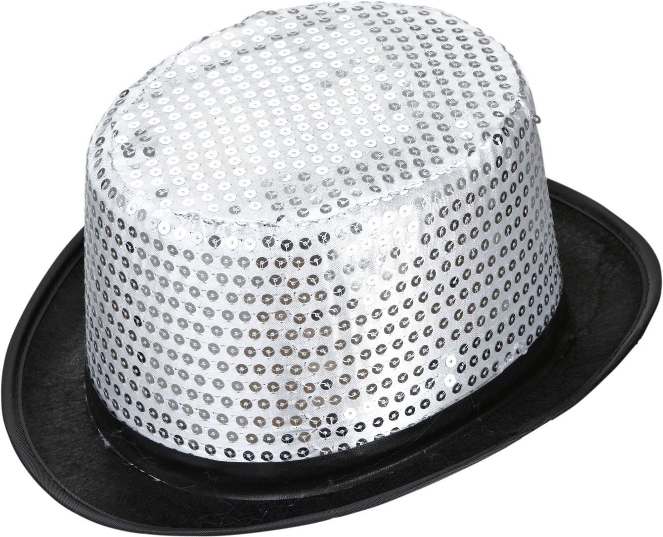 Pailletten hoge hoed zilver