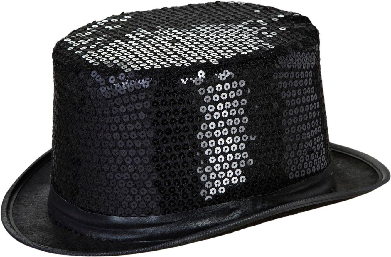 Pailletten hoge hoed zwart