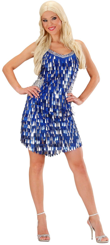 Pailletten jurk blauw/zilver