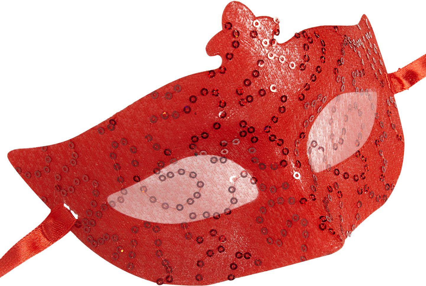 Pailletten kanten oogmasker rood