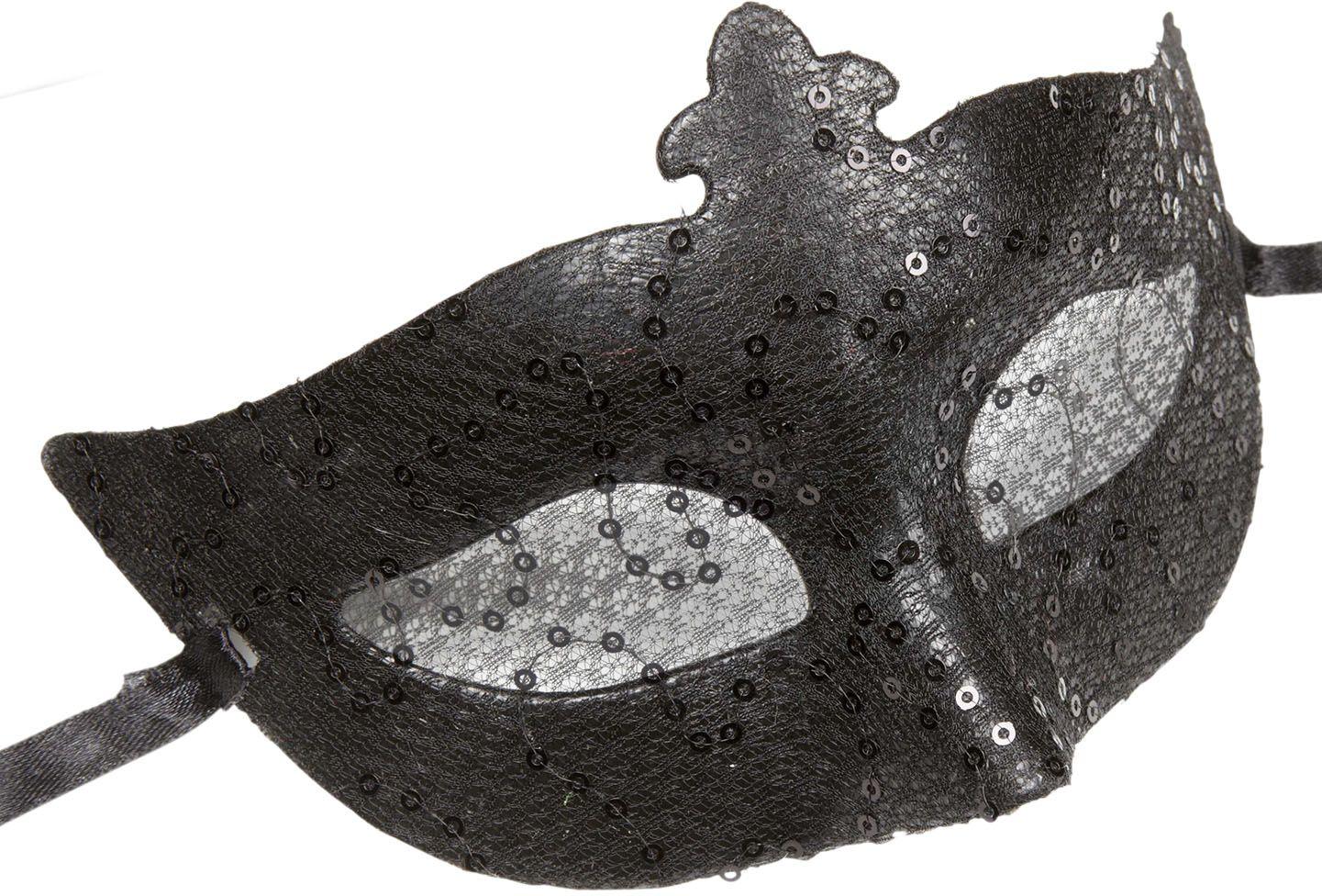 Pailletten kanten oogmasker zwart