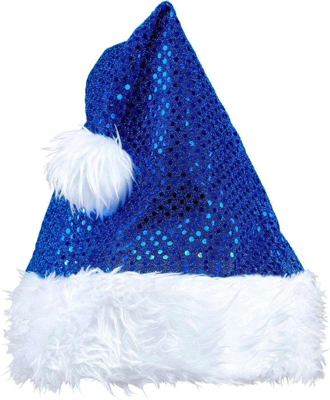 Pailletten kerstmuts blauw