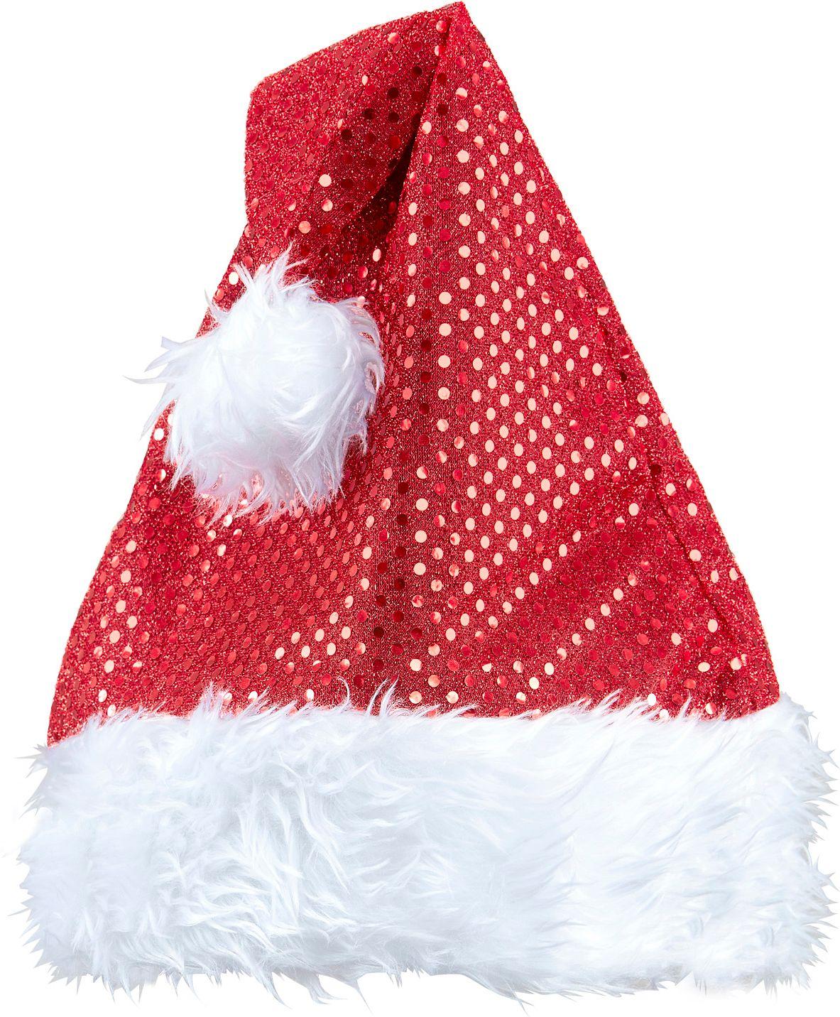 Pailletten kerstmuts rood
