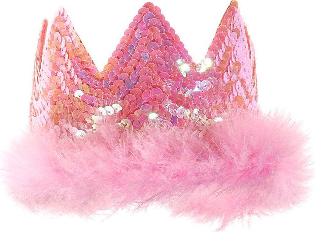 Pailletten kroon met veren roze