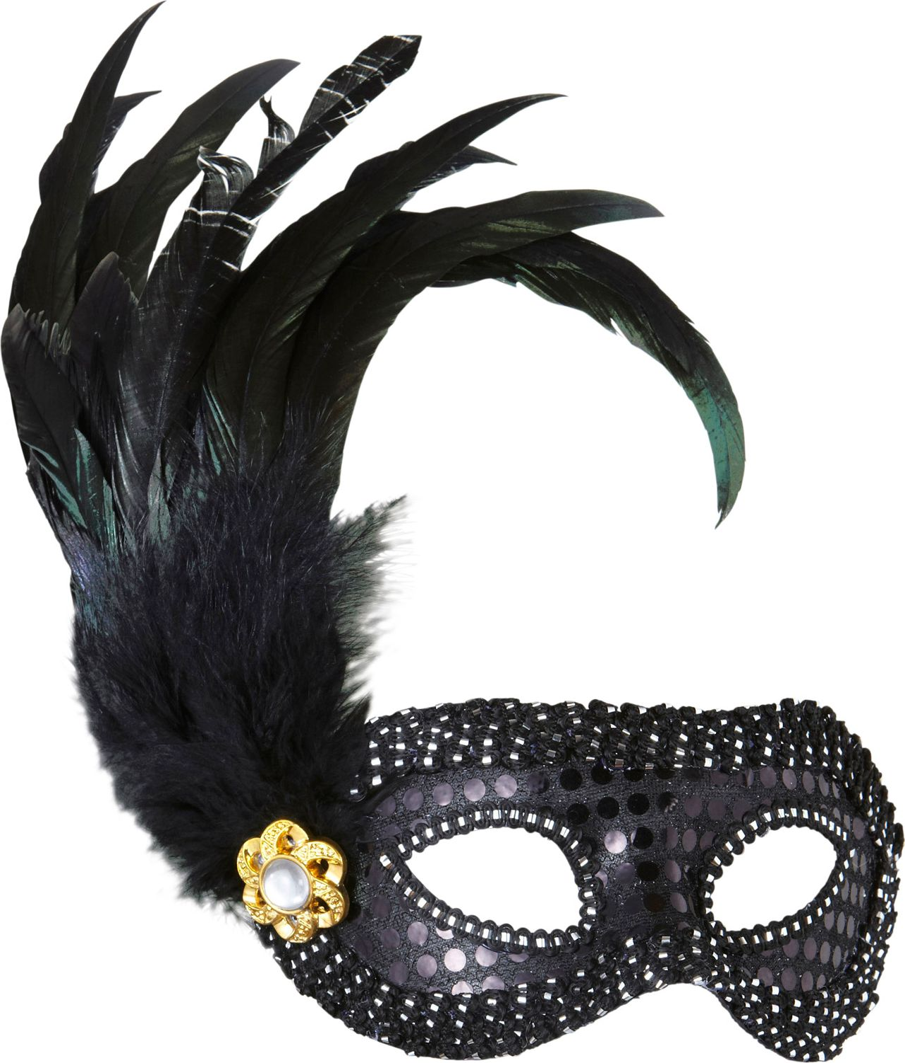 Pailletten oogmasker met veren zwart
