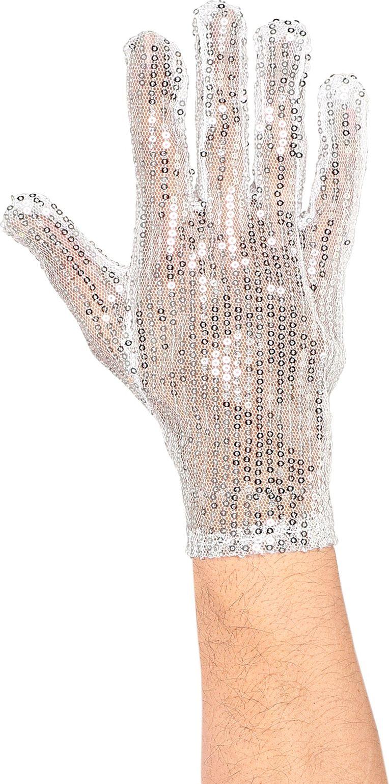 Pailletten rechtshandige handschoen zilver