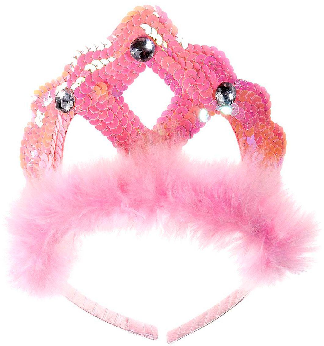 Pailletten tiara met veren roze