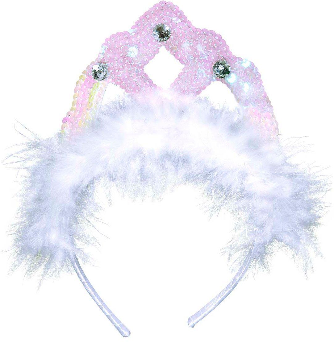 Pailletten tiara met veren wit