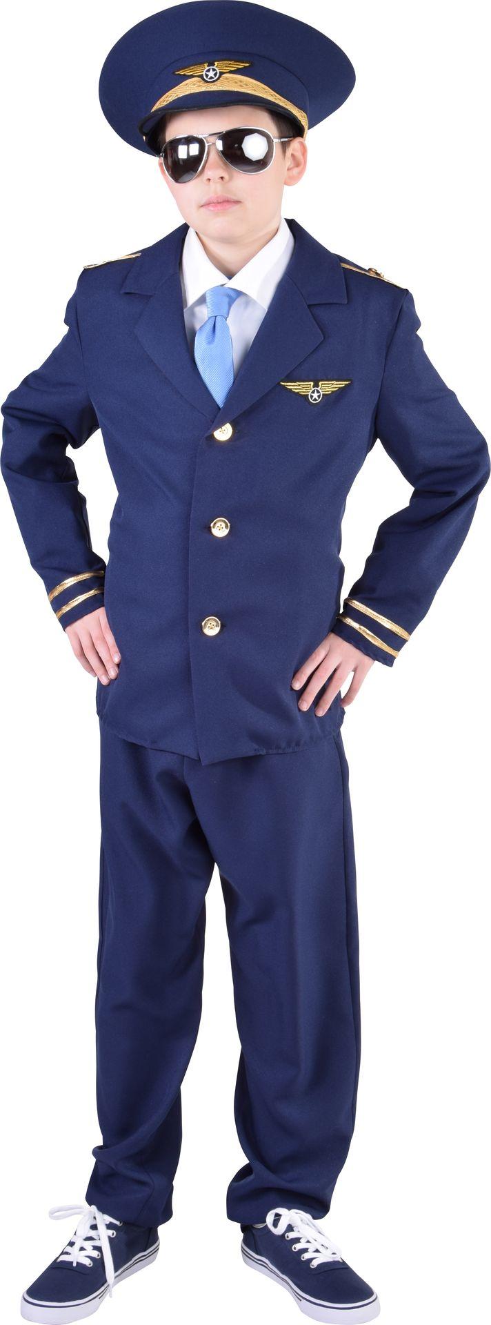 Piloot kostuum jongens blauw