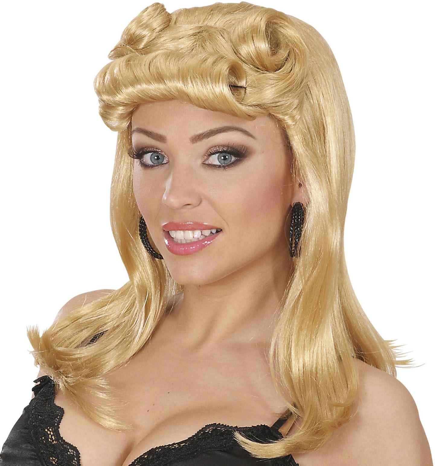 Pin-up pruik blond