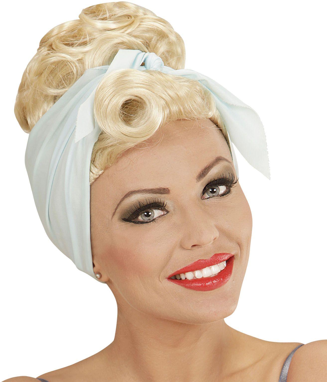 Pin-up pruik blond met hoofddoek