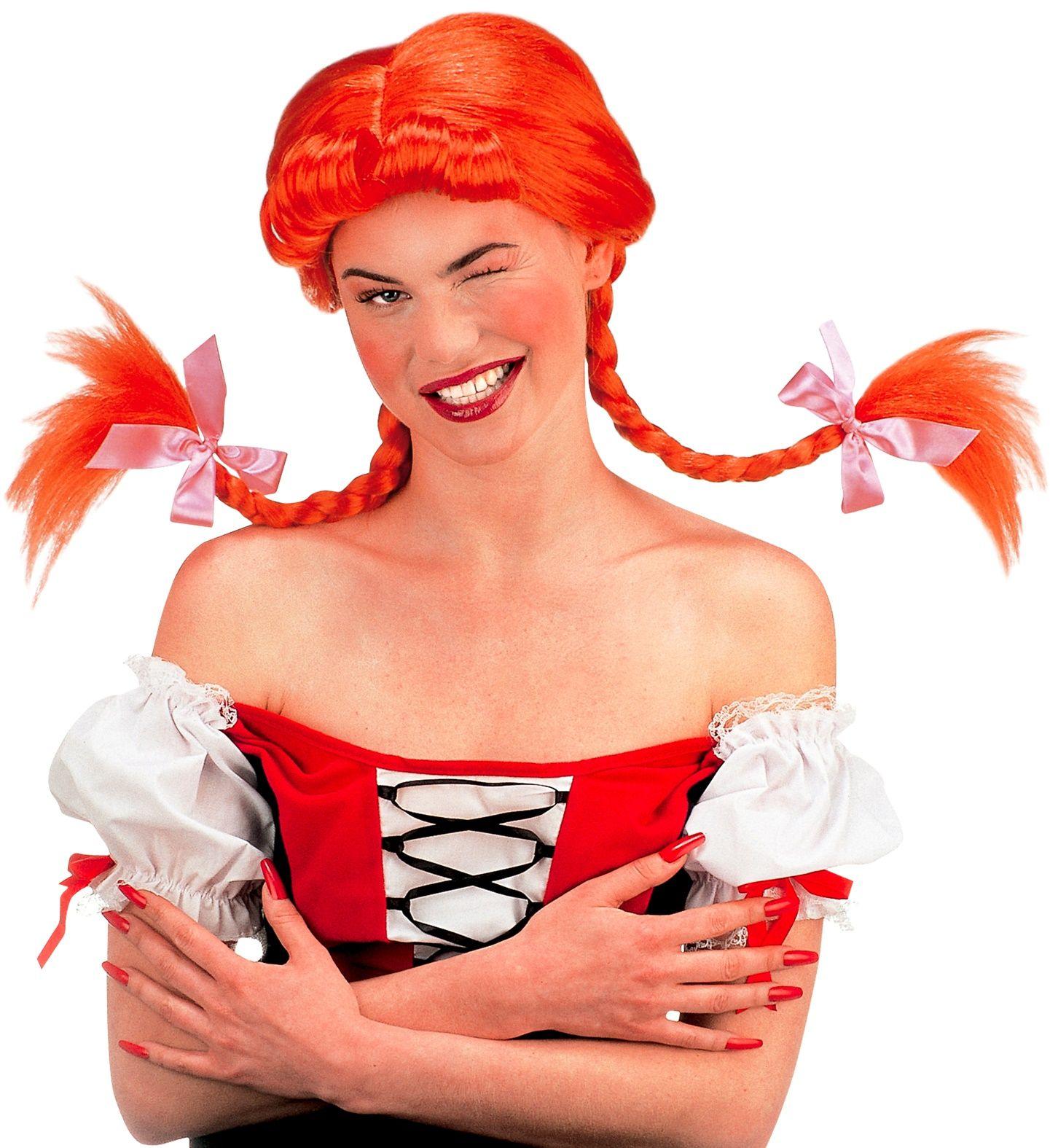 Pippi Langkous kinder pruik rood