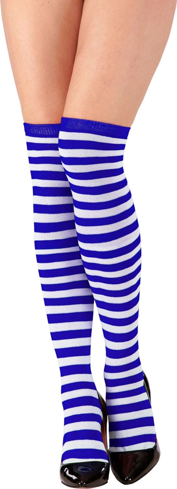 Pippi Langkous kniekous blauw wit