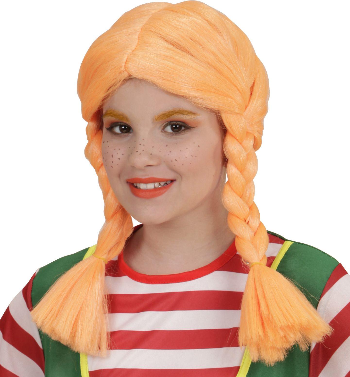 Pippi Langkous pruik oranje kind