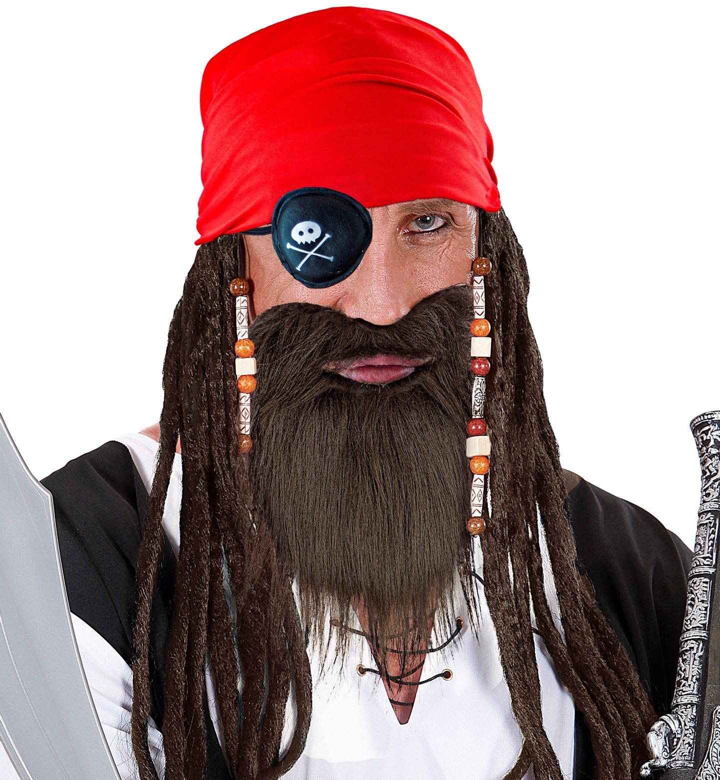 Piraat bandana, ooglapje en baard