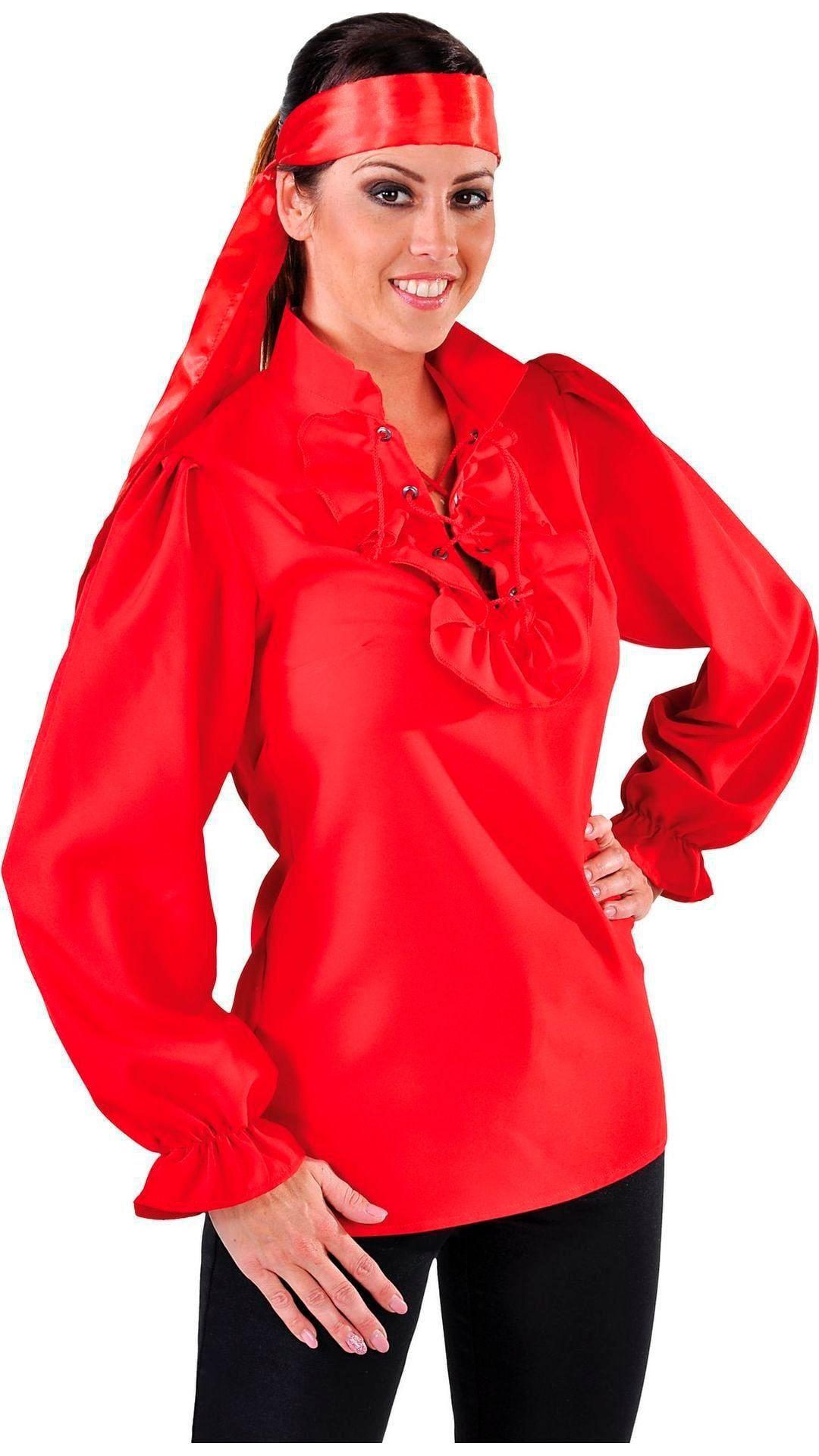 Piraten blousje rood vrouwen