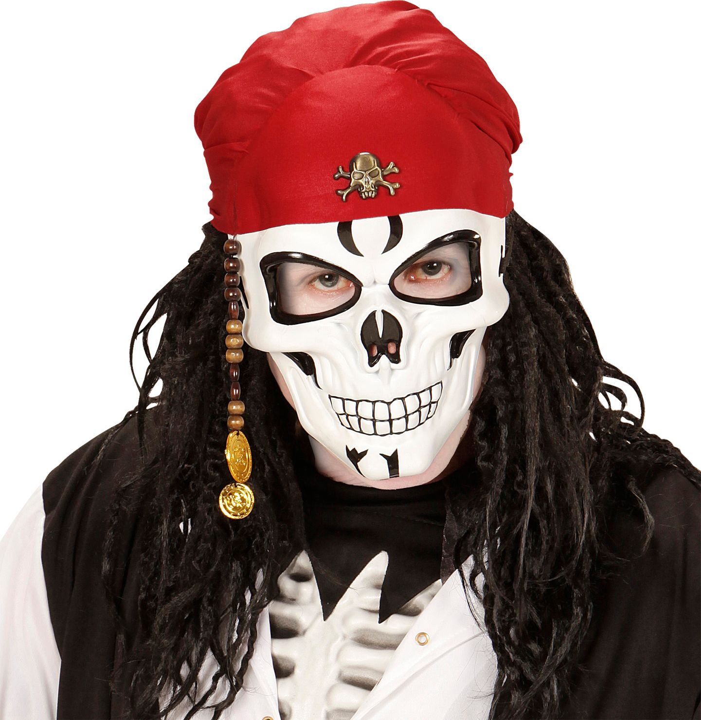 Piraten schedel masker met bandana en kralen