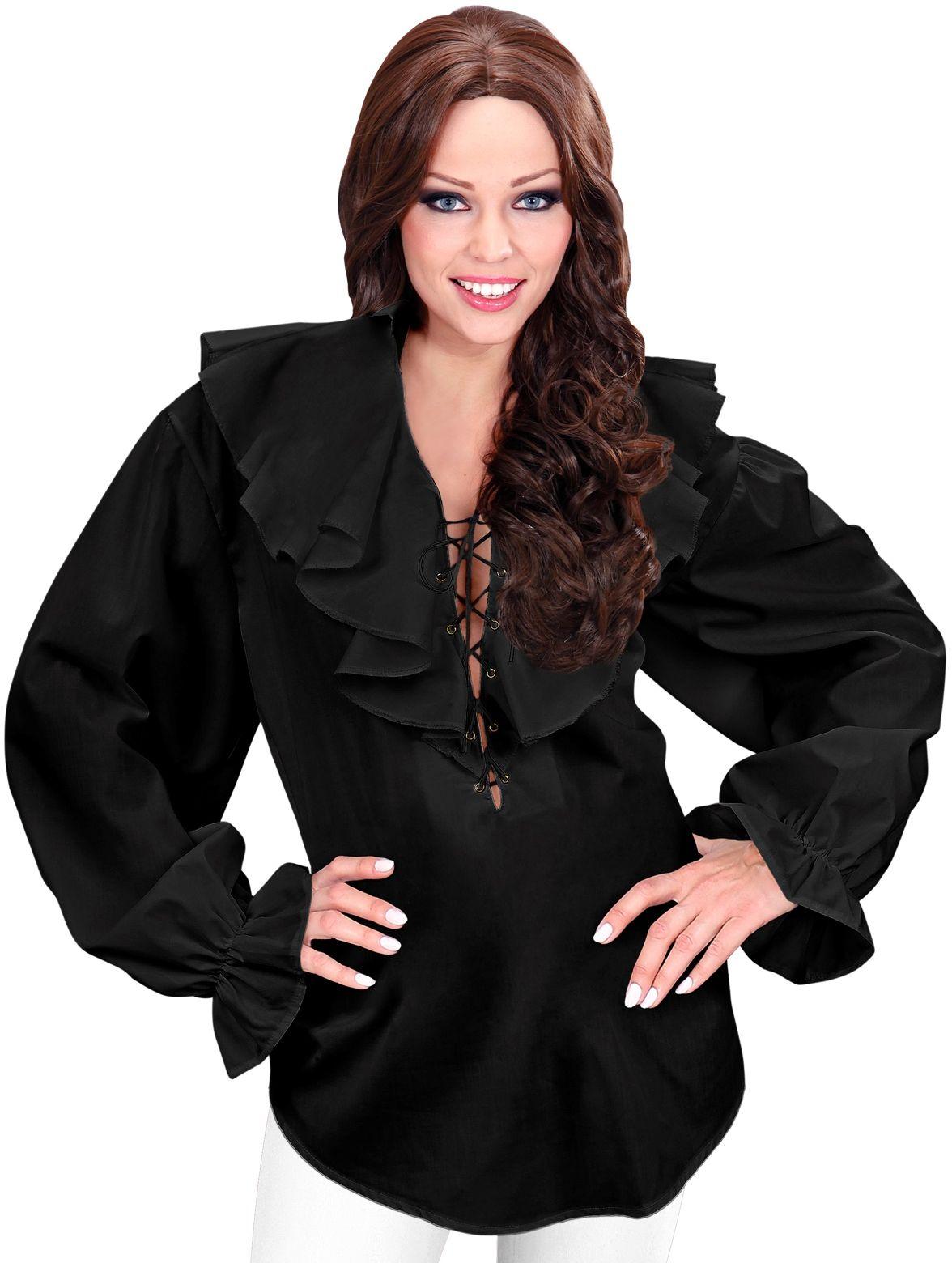 Piraten shirt zwart dames