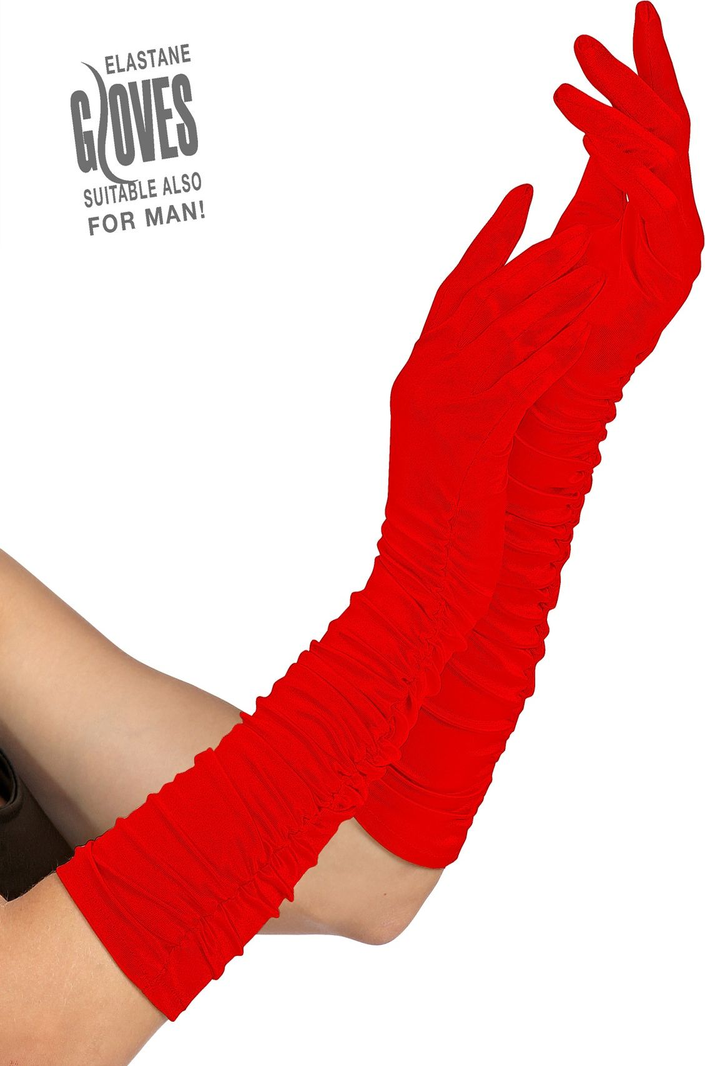 Plissé gala handschoenen rood