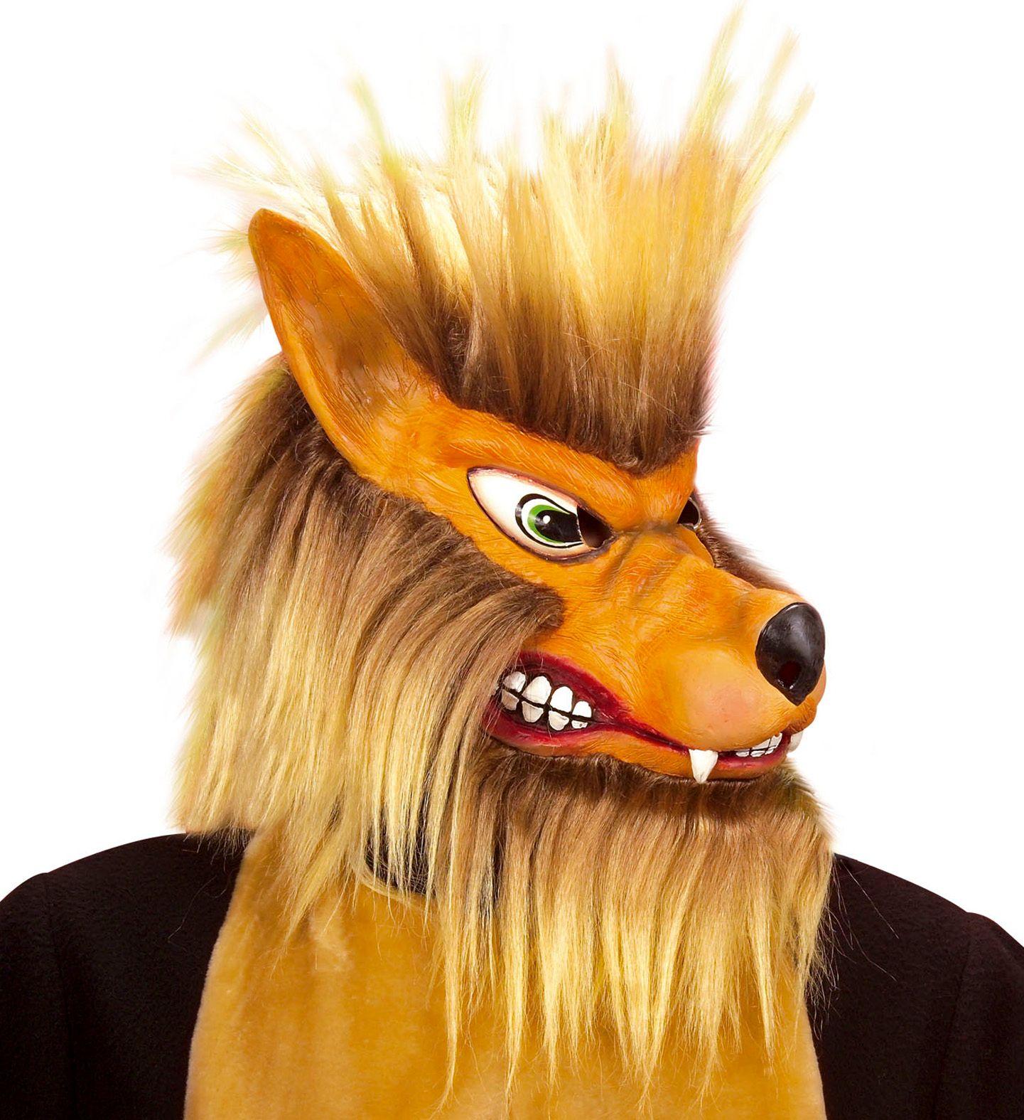 Pluche wolven masker bruin