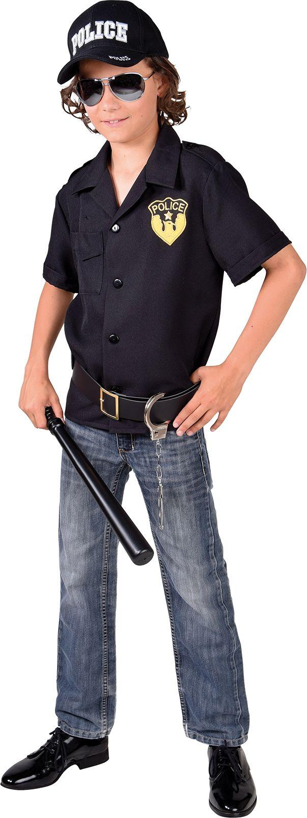 Politie blouse zwart jongens