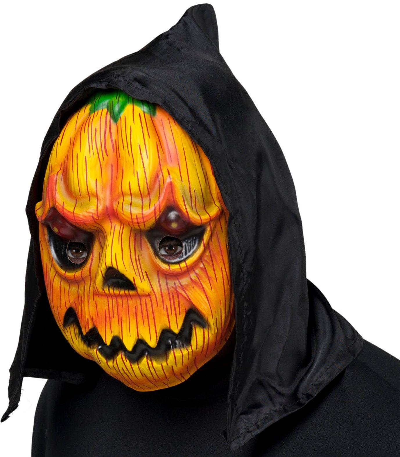 Pompoen masker met zwarte kap