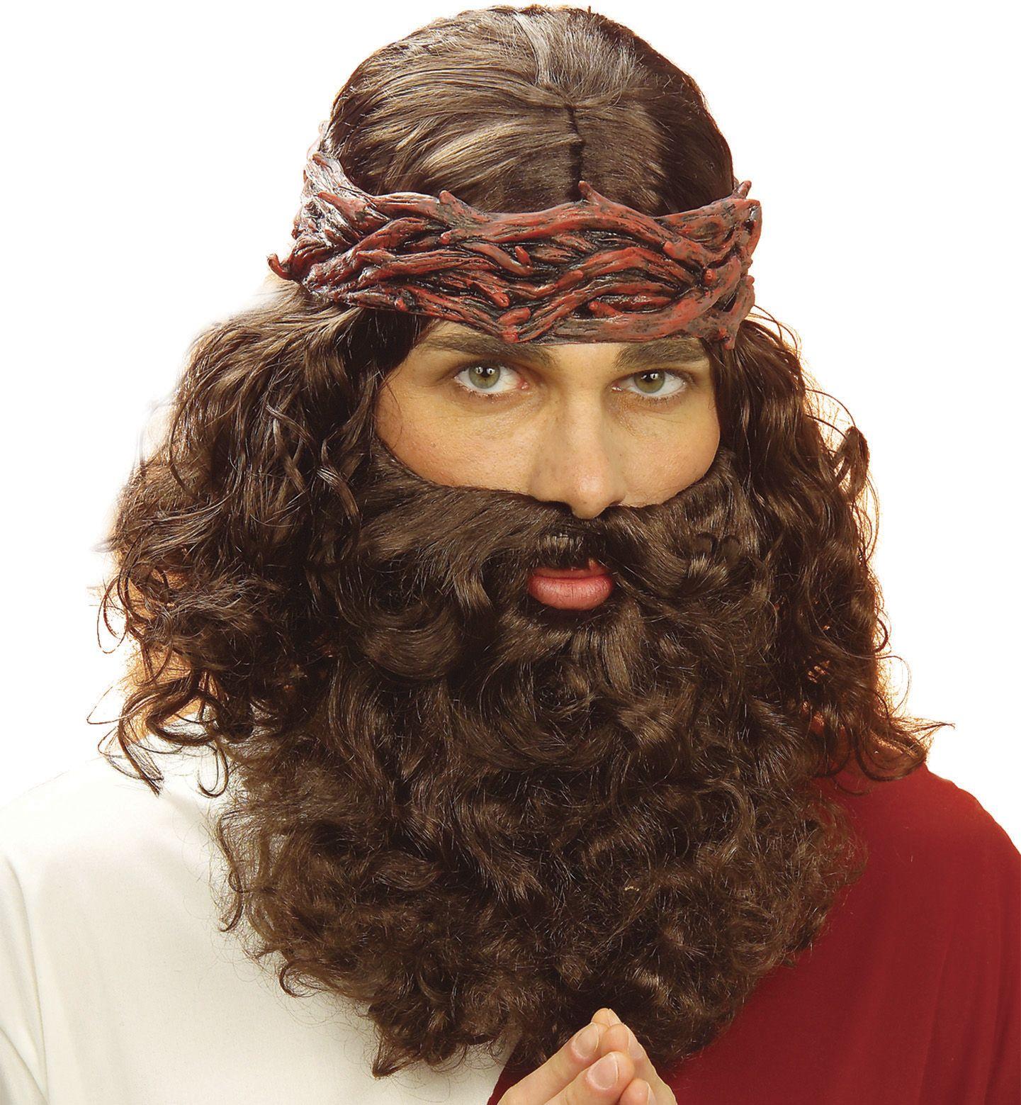 Profeet pruik met baard bruin
