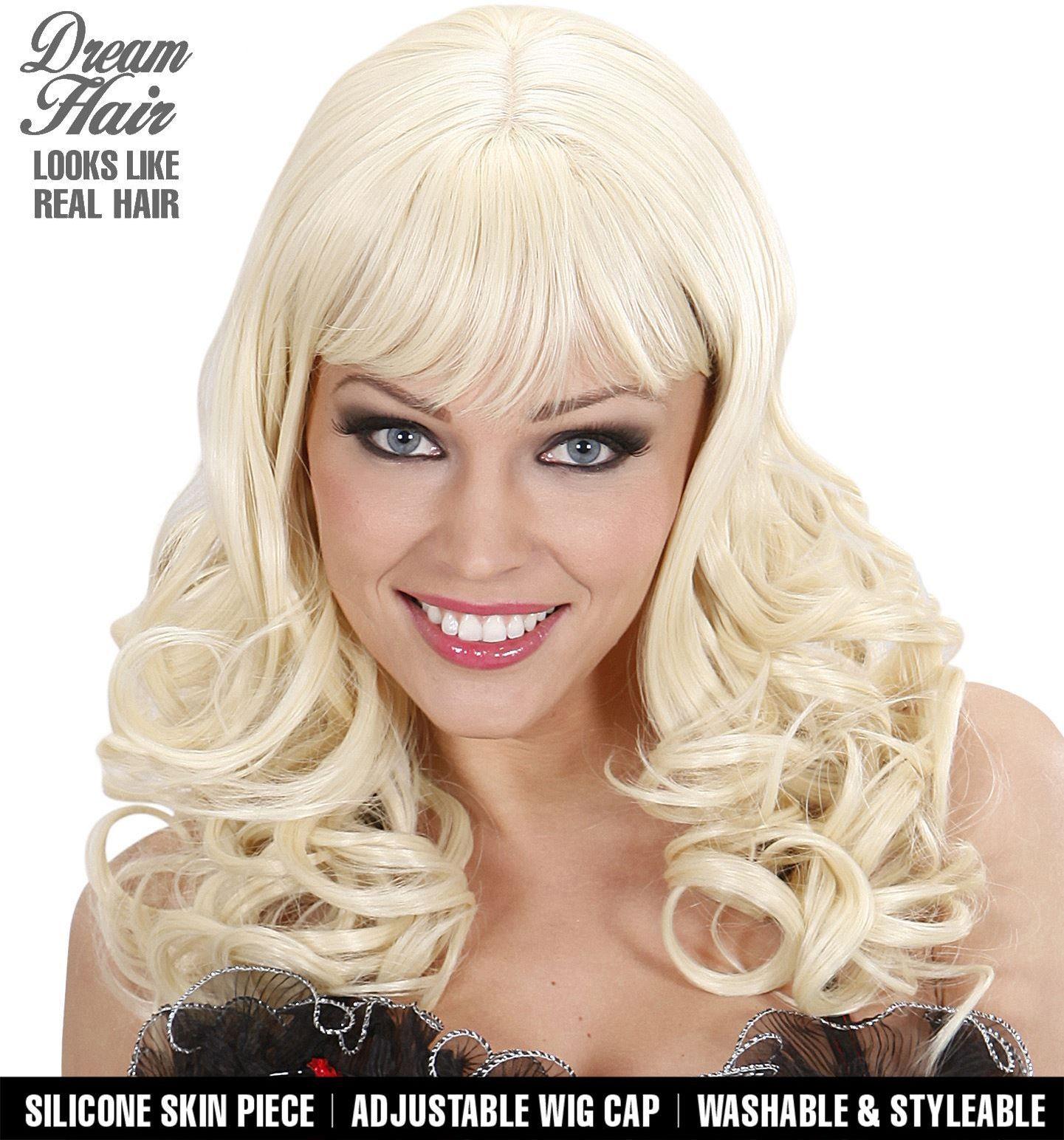 Pruik met blonde krullen