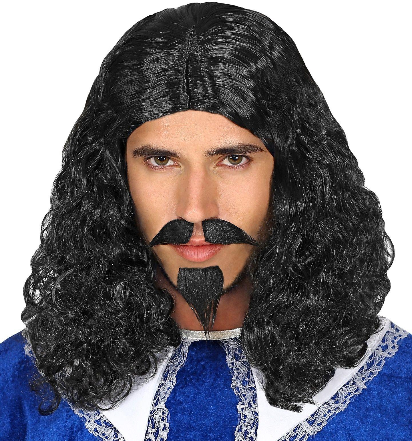 Pruik musketier met snor en sik