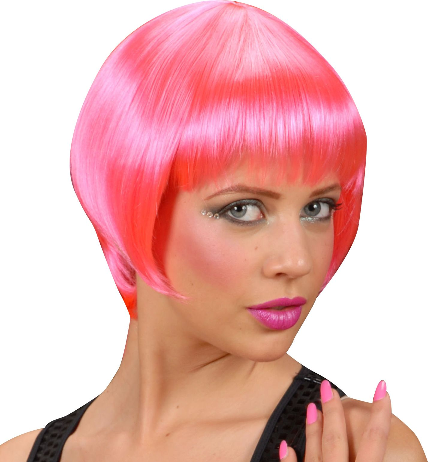 Pruik neon roze