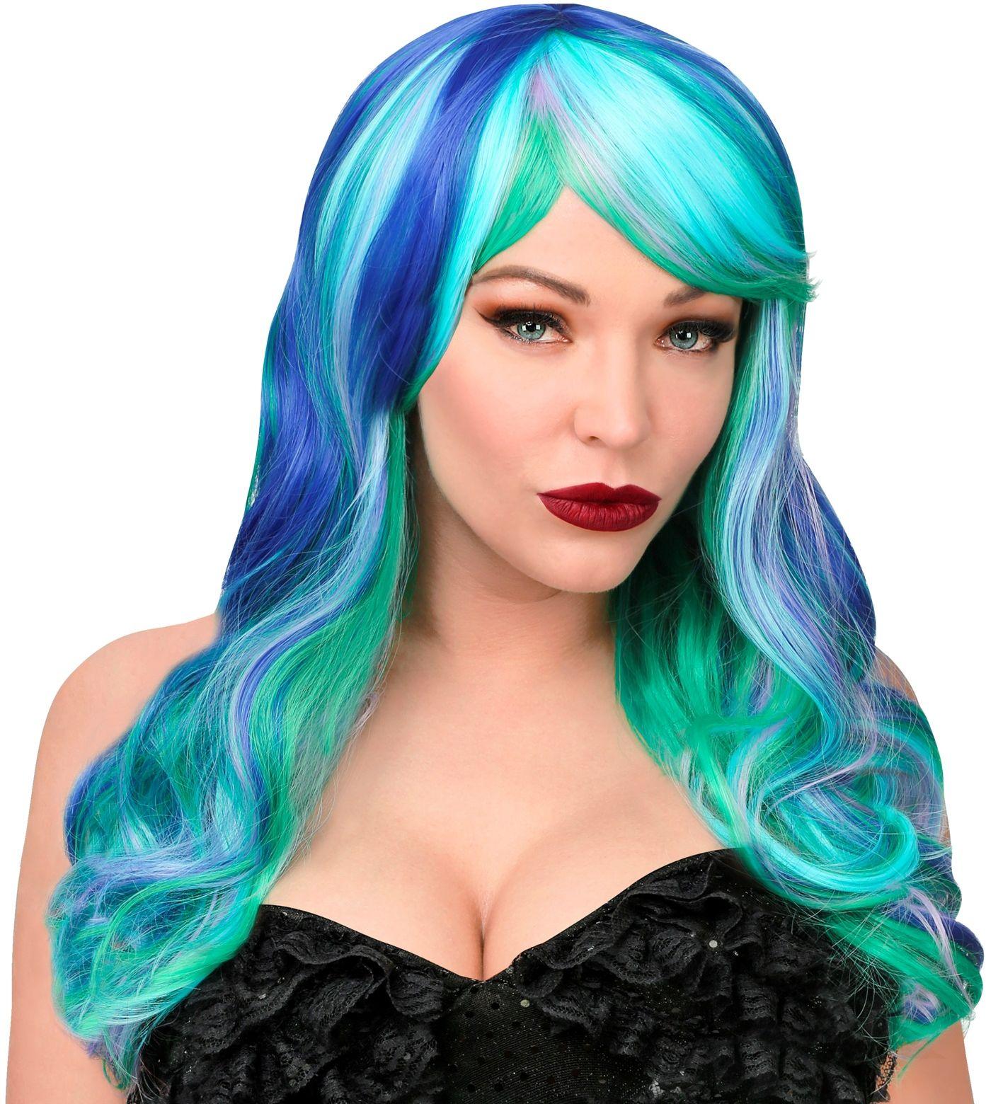 Pruik vrouwen blauw